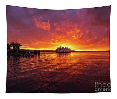 Mukilteo Ferry Sunset Reflection Tapestry