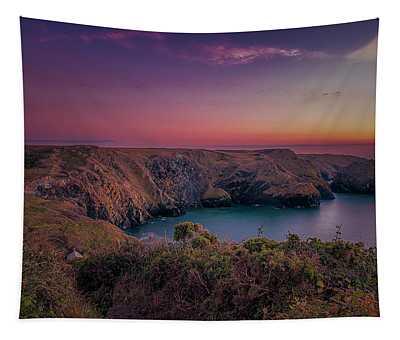 Mullion Cove Cornwall Sunset Tapestry