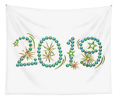Multicolored 3d Look 2019 With Stars And Fireworks Tapestry