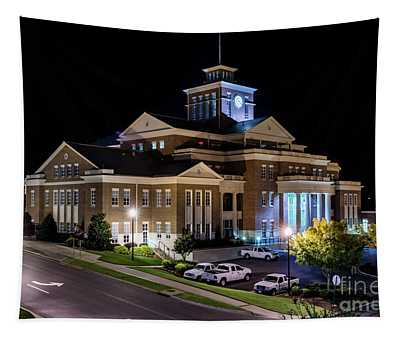 Municipal Center At Night - North Augusta Sc Tapestry