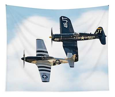 Mustang And Corsair, The Class Of 45 Tapestry