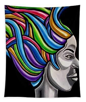 Colorful Abstract Black Woman Face Hair Painting Artwork - African Goddess Tapestry