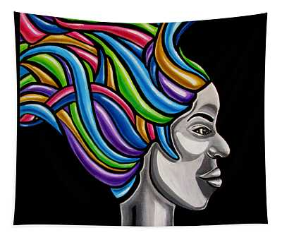 Abstract Face Painting Black Woman Art African Goddess Art Medusa Ai P. Nilson Tapestry