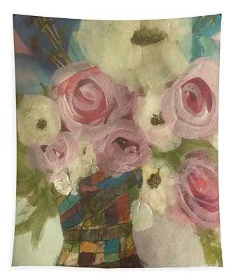 Vintage  Pink Roses Tapestry