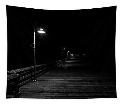 Mysterious Pier At Night Tapestry