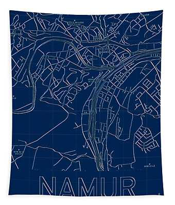 Tapestry featuring the digital art Namur Blueprint City Map by Helge