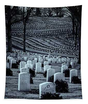 National Cemetery In Black And White Tapestry