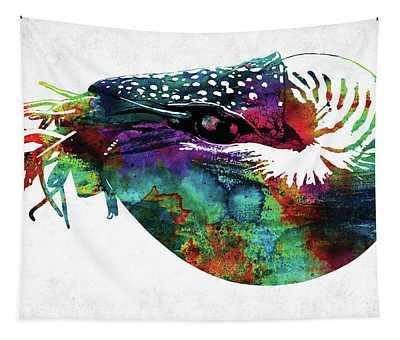 Nautilus Colorful Watercolor Art Tapestry