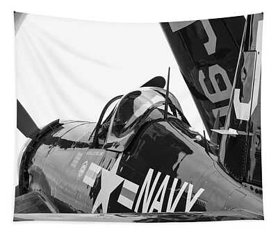 Navy Corsair In Black And White Tapestry