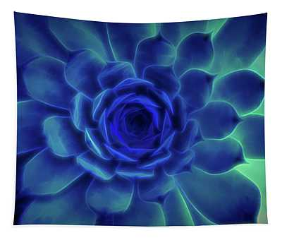Neon Blue Sempervivum Tapestry