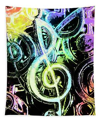 Neon Notes Tapestry