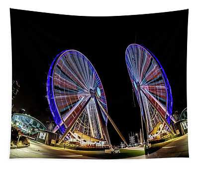 New Ferris Wheel And Its Reflection Tapestry