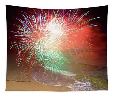 New Years Eve By The Seashore In Dreamland Tapestry