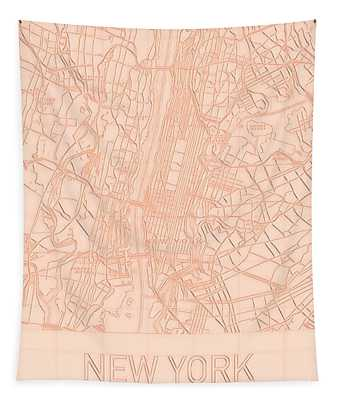 New York City Blueprint Map Tapestry