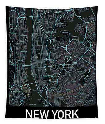 New York City Map Black Edition Tapestry