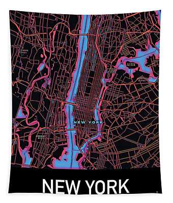New York City Map Tapestry