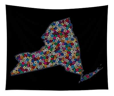 New York Map - 2 Tapestry