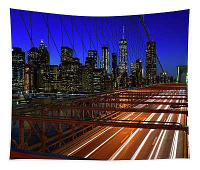 New York Skyline From The Brooklyn Bridge Tapestry