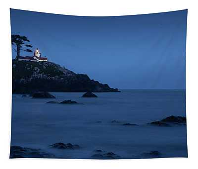 Night Lighthouse In Northern California Tapestry