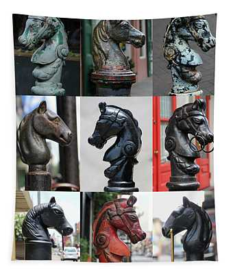 Nine Horse Head Hitching Posts Tapestry