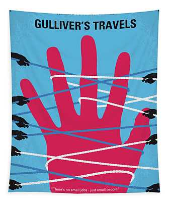 No967 My Gullivers Travels Minimal Movie Poster Tapestry