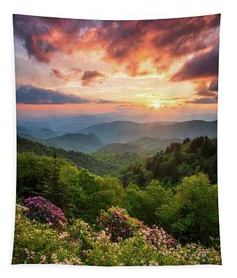 North Carolina Great Smoky Mountains Sunset Landscape Cherokee Nc Tapestry