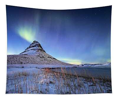 Northern Lights Atop Kirkjufell Iceland Tapestry