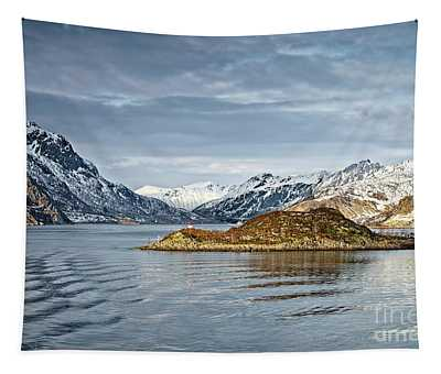 Norwegian Mountain Landscape Lofoten Tapestry