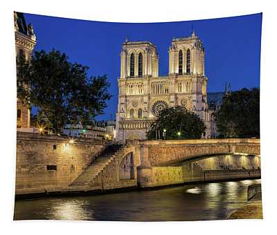 Notre Dame Cathedral Evening Tapestry