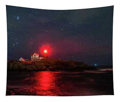 Nubble At Night In Pano Format Tapestry