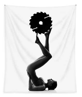 Nude Woman With Saw Blade 2 Tapestry