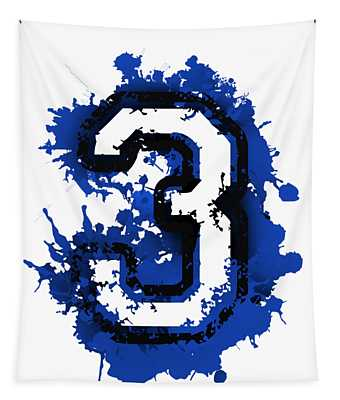 Number Three Over Blue Stain Tapestry