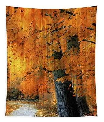 Rustic Autumn Path Tapestry