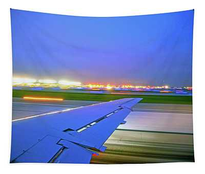 O'hare Night Takeoff Tapestry