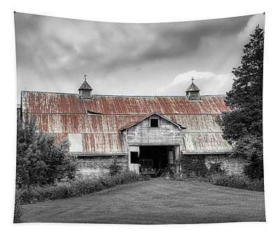 Ohio Barn In Black And White Tapestry