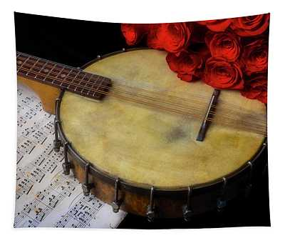 Old Banjo And Red Roses Tapestry