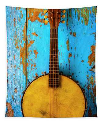 Old Banjo On Blue Wall Tapestry