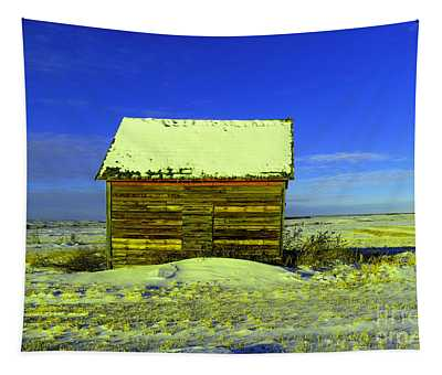 Old Barn In Winter Tapestry
