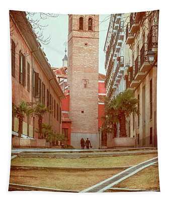 Old Church In Madrid Spain Tapestry