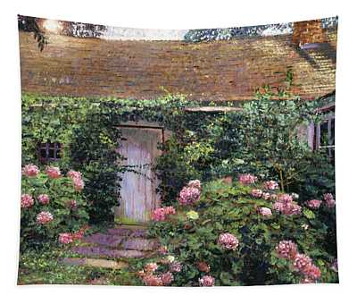 Old Cottage Hydrangeas Tapestry
