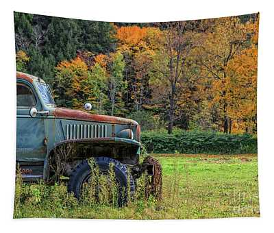 Old Farm Truck Autumn Fall Foliage Vermont Tapestry