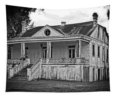 Old House Black And White Tapestry