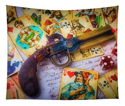 Old Pistole And Playing Cards Tapestry