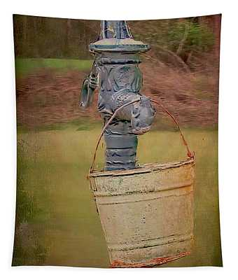 Old Pump And Water Bucket Tapestry