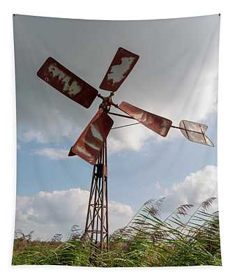 Tapestry featuring the photograph Old Rusty Windmill. by Anjo Ten Kate