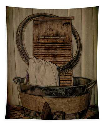 Old Wooden Washboard Tapestry