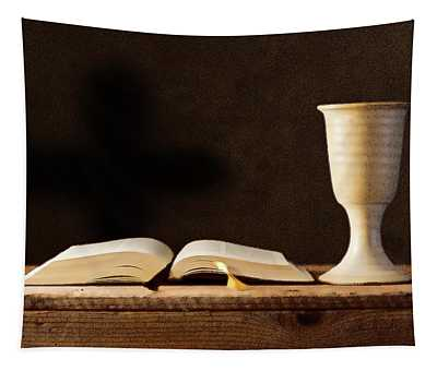 Open Bible With Chalice  Tapestry