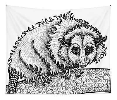 Tapestry featuring the drawing Opossum by Amy E Fraser