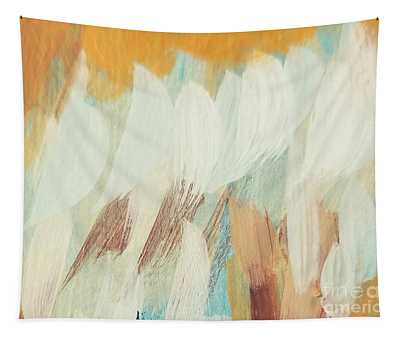 Tapestry featuring the painting Orange #4 by Maria Langgle