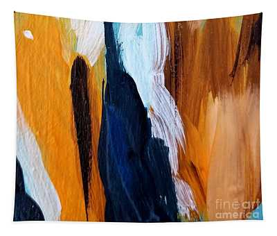 Tapestry featuring the painting Orange #6 by Maria Langgle